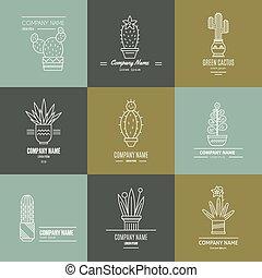 Succulent Logotypes - Linear illustration of succulent...