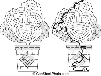 Succulent maze for kids with a solution in black and white