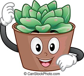 Succulent Plant Pot Mascot Illustration - Illustration of a...