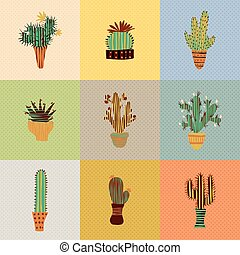 succulent plants and cactuses - Flat colorful illustration...