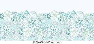 Succulent Plants Horizontal Seamless Pattern Background Border