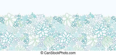 Succulent Plants Horizontal Seamless Pattern Background Border