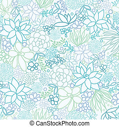 Succulent Plants Seamless Pattern Background - Vector...