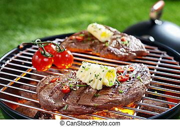 succulento, bistecca, barbecue