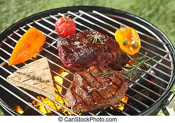 succulento, cuocere, tenero, culatta, barbecue, bistecca