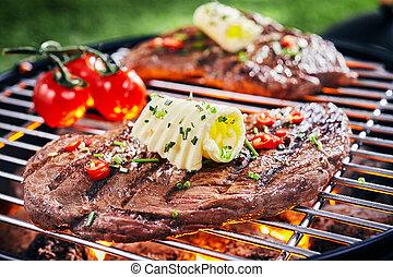 succulento, pezzo, cuocere, culatta, bistecca, bbq