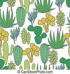 succulents, プラント植物相, 生地, pattern., seamless, ベクトル, 緑の白, サボテン, 植物, print.