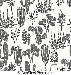 succulents, プラント植物相, 生地, pattern., seamless, ベクトル, 黒, 白, サボテン, 植物, print.