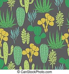 succulents, プラント植物相, 生地, pattern., seamless, ベクトル, 黒, 緑, サボテン, 植物, print.