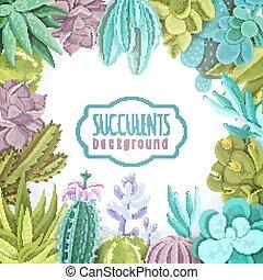 Succulents Background Illustration - Succulents decorative...