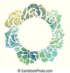 succulents, cadre, rond, aquarelle, vue dessus