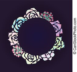 succulents, cornice, neon, rotondo, scuro, fondo., vista superiore