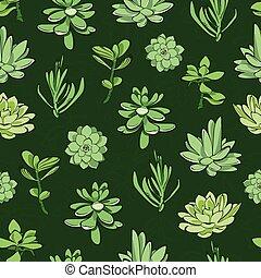 succulents, modèle, seamless, vecteur, arrière-plan vert, frais