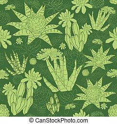 succulents, próbka, seamless, wektor, zielony, lineart