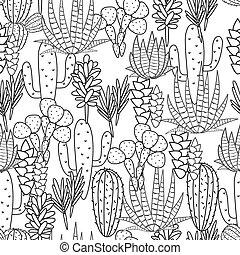 succulents, roślina flora, budowla, pattern., seamless, wektor, czarnoskóry, biały, kaktus, botaniczny, print.