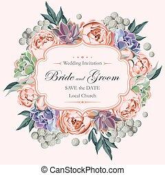 succulents, rosas, convite, peony, casório
