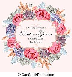 succulents, rozen, uitnodiging, peony, trouwfeest