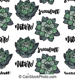 Succulents vector seamless pattern.