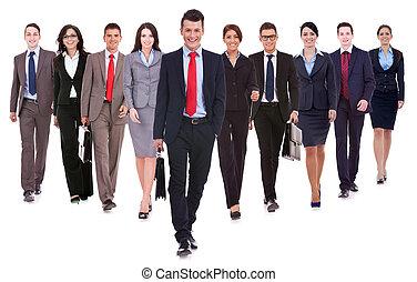 sucedido, andar, feliz, equipe negócio
