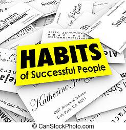 sucedido, cartões, hábitos, pessoas negócio