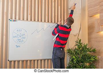 sucedido, conceito, quadro-negro, homem negócios, delinear, graph., crescimento, negócio, ficar
