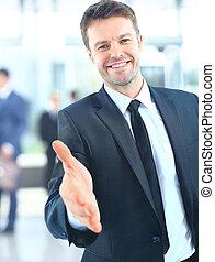sucedido, dar, homem negócios, retrato, mão