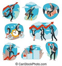 sucedido, desenvolvimento, líderes, negócio, realização, vetorial, equipe