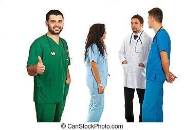 sucedido, equipe, de, doutores