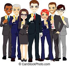 sucedido, equipe negócio, brindar