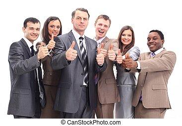 sucedido, equipe negócio, com, polegares cima