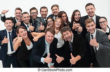 sucedido, equipe negócio, mostrando, polegares cima