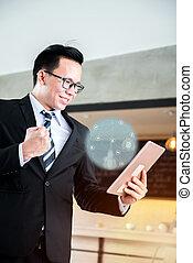 sucedido, fintech, meta, trabalhando, tabuleta, asiático, homem negócios, kpi