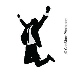 sucedido, homem negócios, celebrando