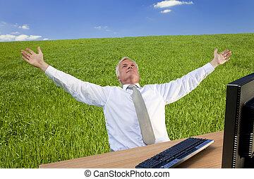 sucedido, homem negócios, em, um, campo verde