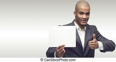 sucedido, homem negócios, jovem, africano