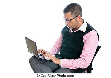 sucedido, homem negócios, laptop