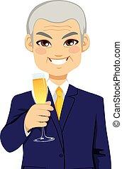 sucedido, homem negócios, sênior, brindar, champanhe