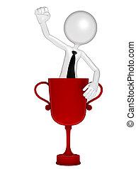 sucedido, homem negócios, troféu, copo