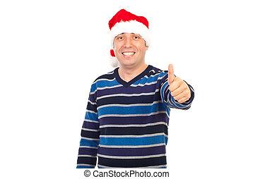 sucedido, homem sorridente, em, chapéu santa