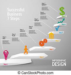 sucedido, infographic, negócio, escadaria