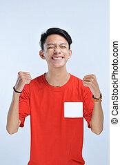 sucedido, jovem, ganhar, celebrando, asiático, expressar, feliz, gesture., excitado, homem