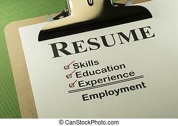 sucedido, lista de verificação, conceito, emprego, retomar
