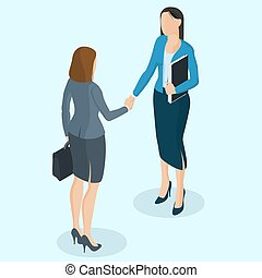 sucedido, mulheres negócios, handshaking