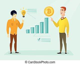 sucedido, promoção, de, novo, cryptocurrency, startup