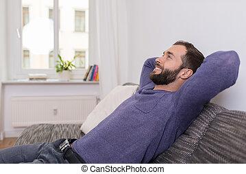sucedido, relaxar homem, sofá, casa