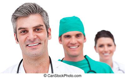 sucedido, retrato, equipe médica