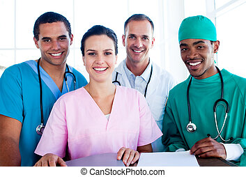 sucedido, retrato, médico, equipe trabalho