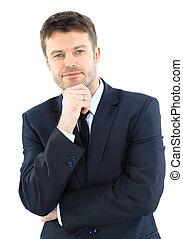 sucedido, retrato, maduras, homem negócio