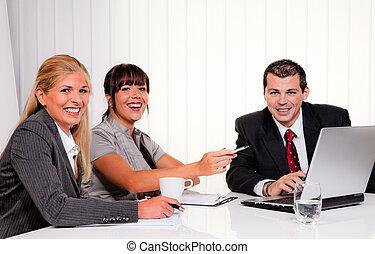sucedido, reunião, equipe escritório