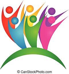 sucedido, trabalho equipe, negócio, logotipo